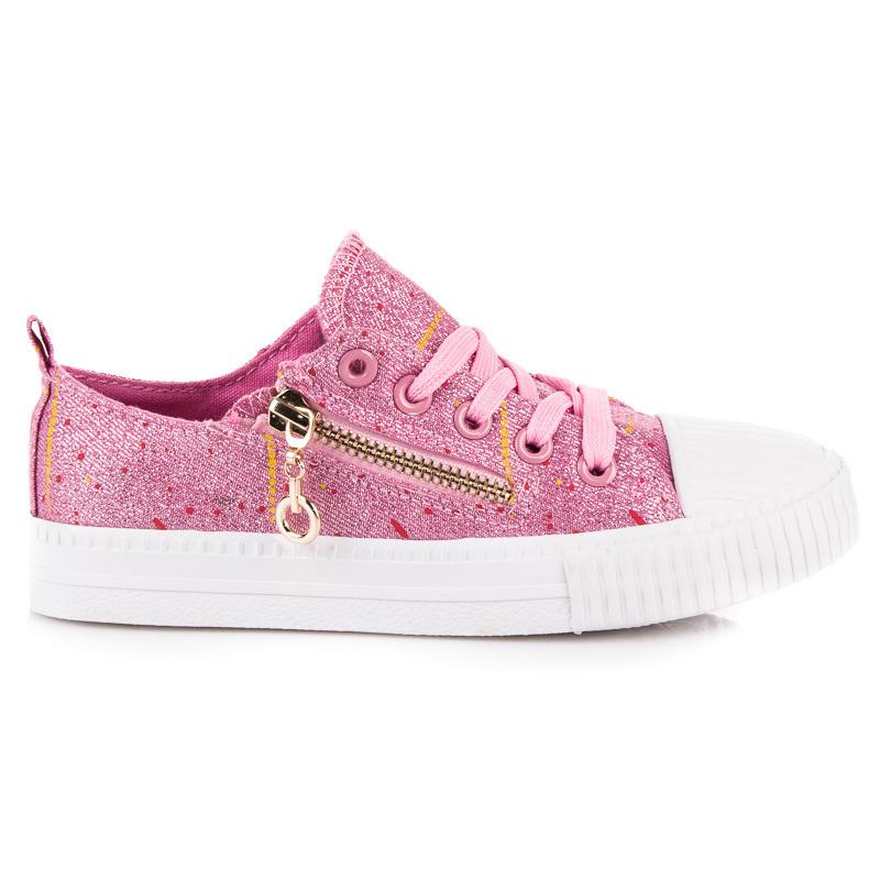 305416e1a9241 Trblietavé ružové detské tenisky so zipsom