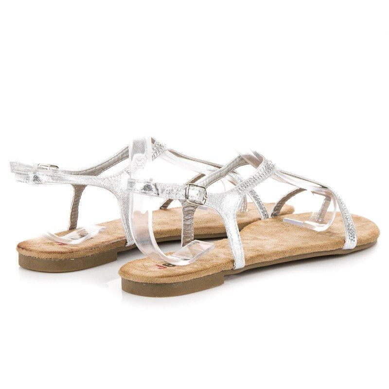 19556693d264 ... Úchvatné strieborné sandále na nízkej podrážke