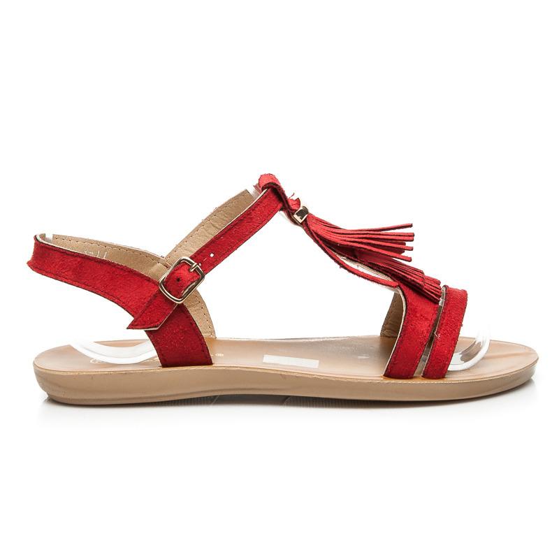 2bbb6b3169 Veľmi pekné nízke červené sandále v boho štýle