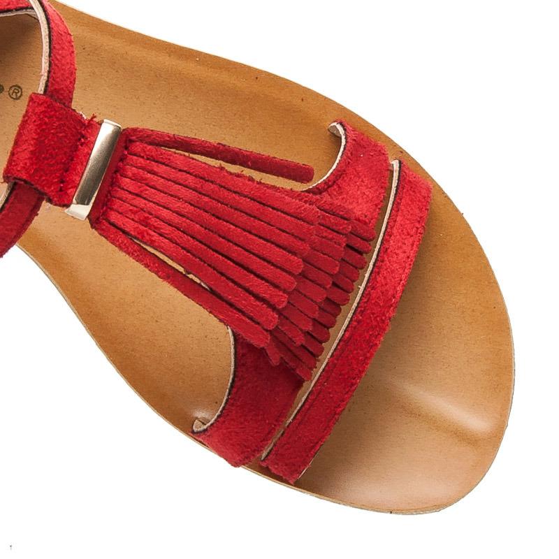 86fb41c395e1 Veľmi pekné nízke červené sandále v boho štýle