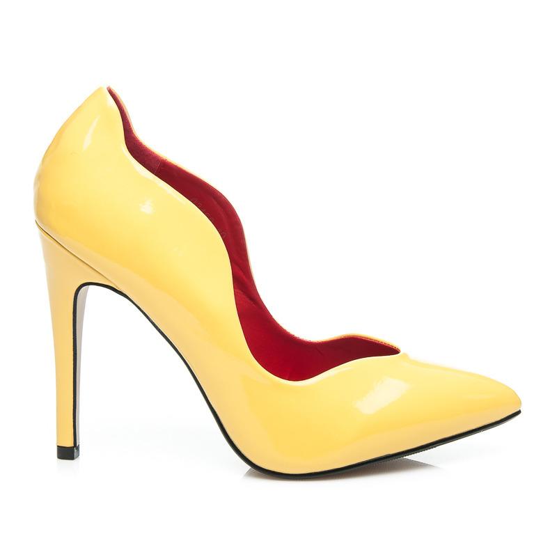 Vysoké dámske lodičky - žlté  84e1bb3e4be