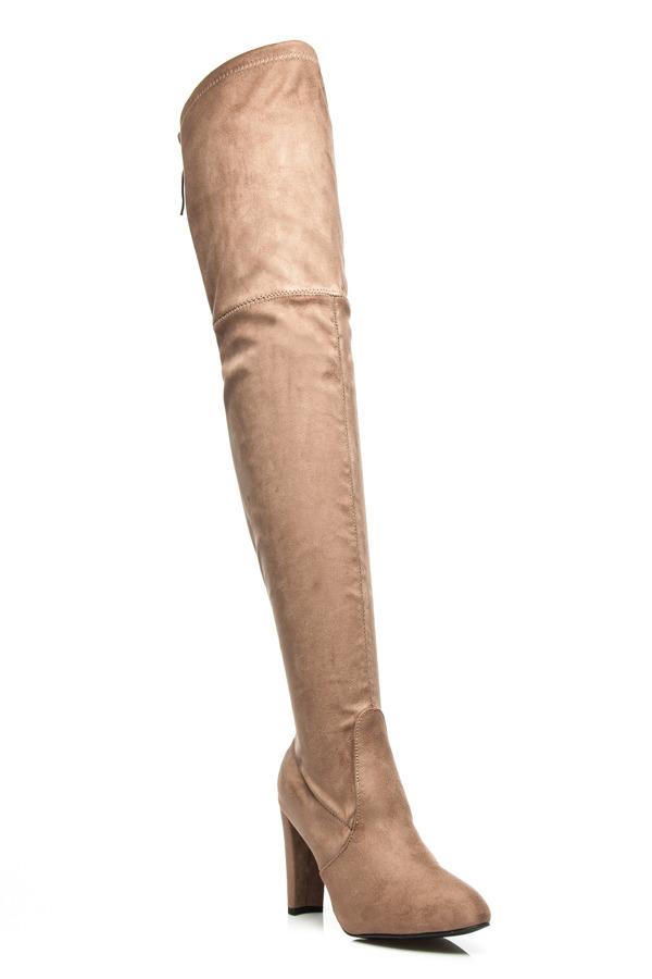 c72440439 Vysoké semišové béžové čižmy na podpätku | AMIATEX.sk
