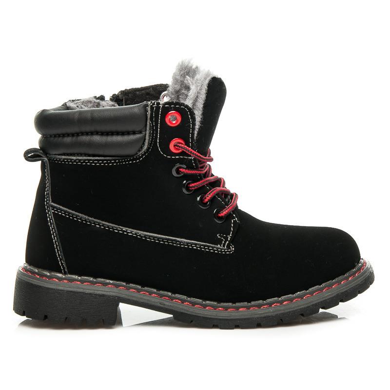 aea0aa2f2ebd Zateplené dětské čierne členkové topánky na šnurovanie