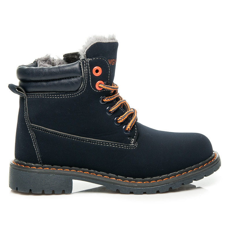 a13158860628 Zateplené dětské modré členkové topánky na šnurovanie