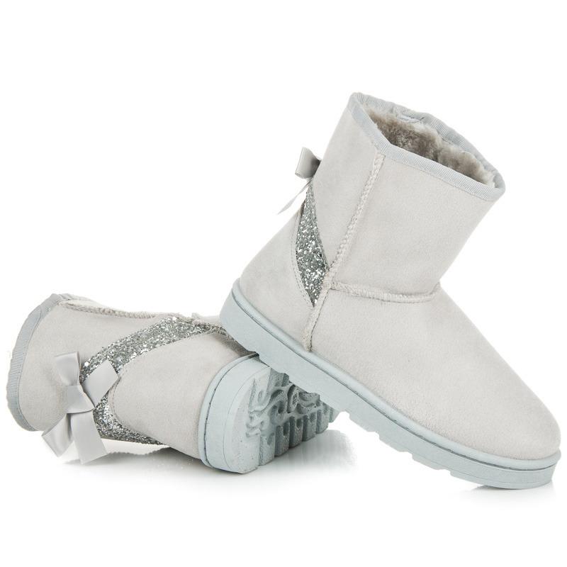 b01f35b51708a Zateplené šedé snehule s brokátom | AMIATEX.sk